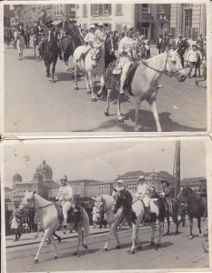 2 Orig. Fotos Postkarten Bern Umzug Parade Bundeshaus Cafe Federal
