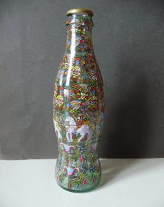 Deko-Flasche mit Foliendekor PopArt Vögel Pferde