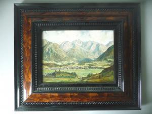 Landschaftsgemälde Oberstdorf Allgäu / Walther Thamm in Originalrahmen ca. 1920