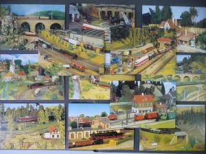 12 AK Modelleisenbahn Landschaften Züge Sachsen ua./ Robert Niemeier ca. 1990