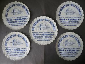 5 Untersetzer aus Papier Reklame Konsum-Warenhaus Plauen Vogtland 15 cm