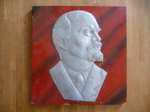 Porträt Lenin Reliefbild Aluminium auf Holz 43 x 45