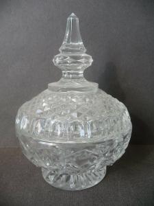 Glasdose Deckeldose mit Knauf Kristallglas