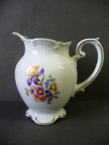 Krug Milchkännchen Sahnegießer Blumendekor / Roschütz Porzellan