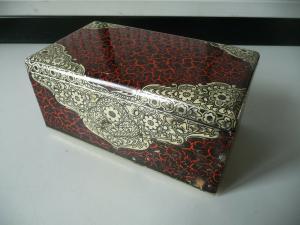 Blechdose Kästchen rot-gold verziert
