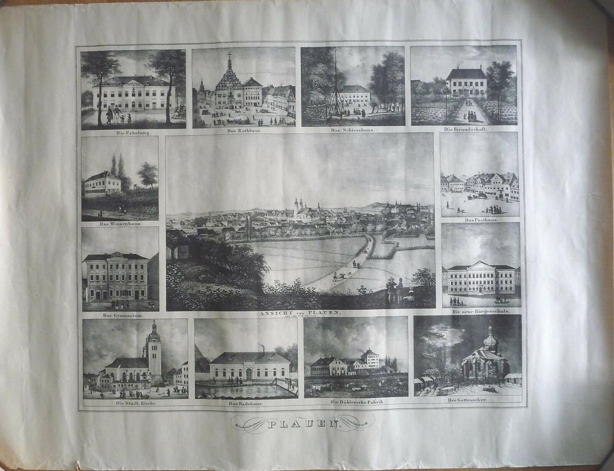 Kunstdruck Plauen Vogtland Stadtansicht u.12 Einzelbilder nach Stich um 1850 0