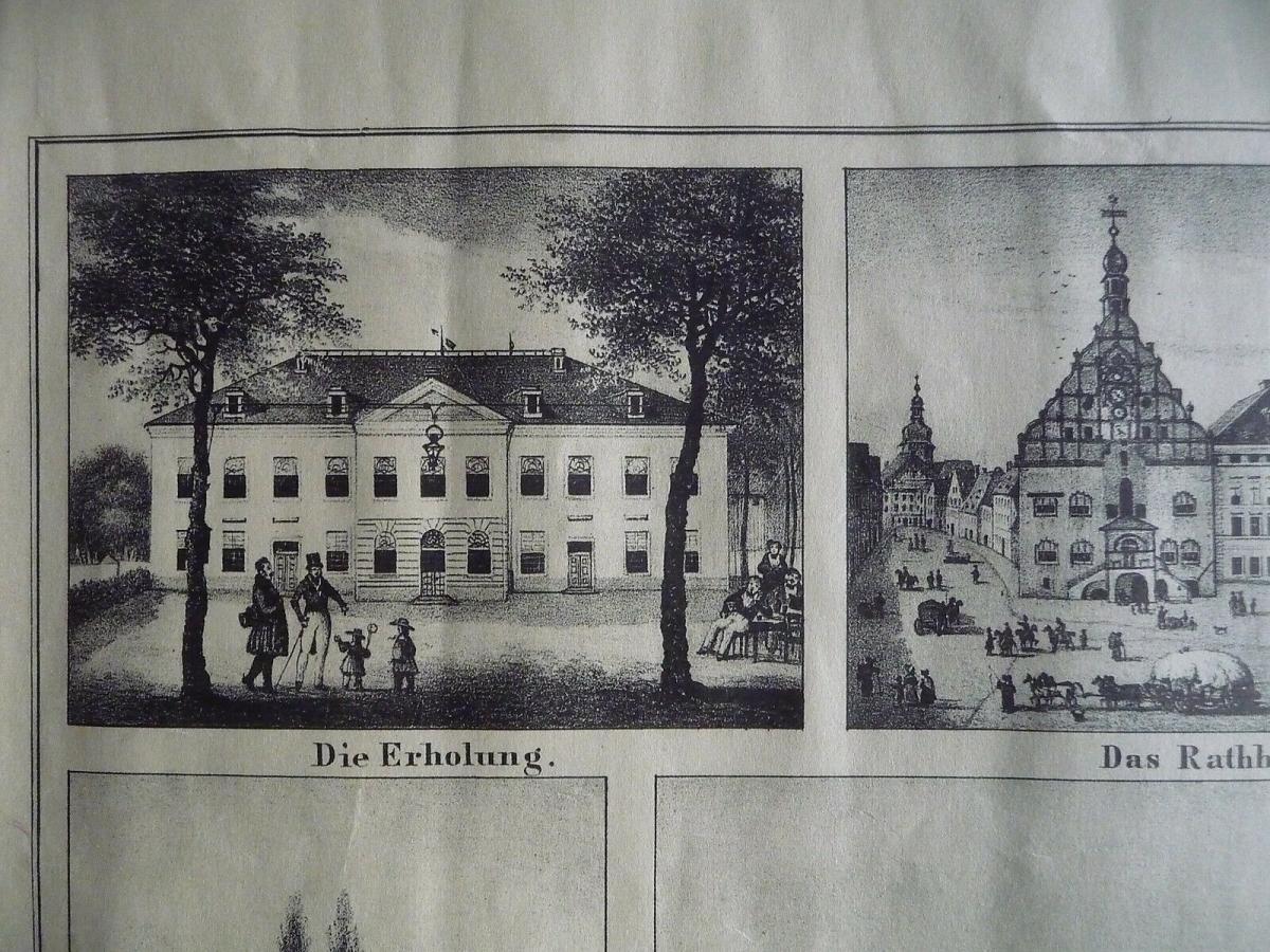 Kunstdruck Plauen Vogtland Stadtansicht u.12 Einzelbilder nach Stich um 1850 1
