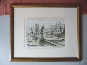 Orig. Druckgraphik Ansicht Prag Karlsbrücke Hradschin nummeriert signiert