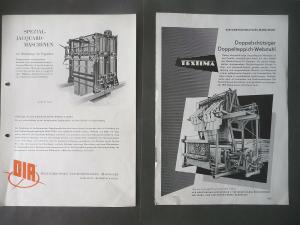2 Prospekte Reklame Webstuhlbau Jacquard-Maschinen Textima ca. 1960