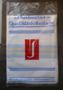 Bettlaken in Originalhülle / Oberlausitzer Bettwäsche  Seifhennersdorf DDR