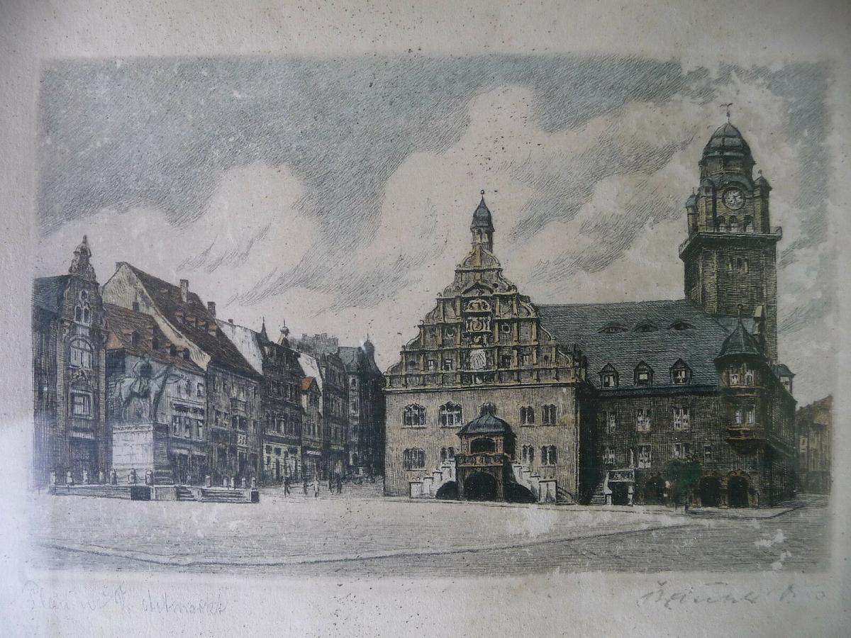 Alte Druckgraphik Radierung Plauen Vogtland Altmarkt mit König-Albert-Denkmal 1