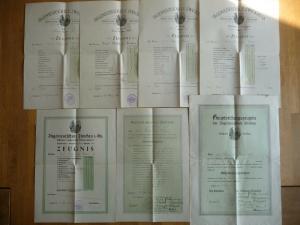 7 x Zeugnis Maschinenbau Ingenieurschule Zwickau Schlussprüfung 1921