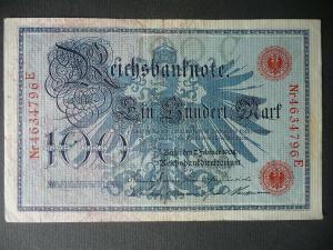 Reichsbanknote 100 Mark 1908 Nr. 4634796E