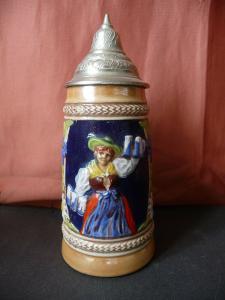 Kleiner Bierkrug Humpen mit Zinndeckel Gerz Keramik