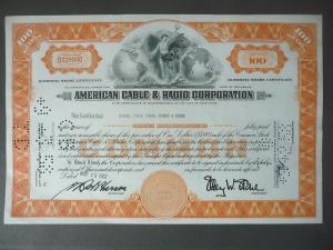 Aktie Share American Cable Radio Corporation 1957