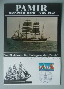 Gedenkblatt Pamir Untergang 25 Jahre mit Foto und Sonderstempel 1982