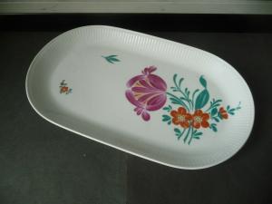 Ovale Platte Schale mit Blumenmuster / Kahla Porzellan DDR