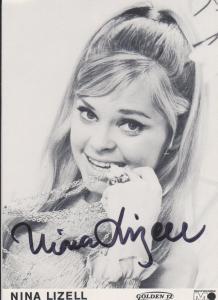 Autogrammkarte Nina Lizell  / Schlagersängerin  Foto signiert ca. 1970