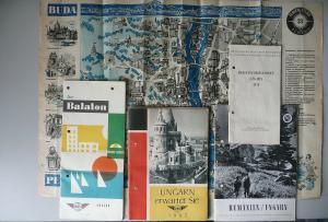 5 x Reiseprospekte Ungarn Budapest Balaton ca. 1950/60