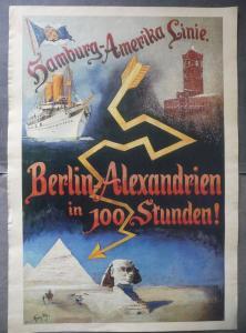 Plakat Reklame Hamburg-Amerika-Linie Berlin-Alexandria