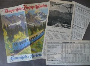 Bayerische Zugspitzbahn Schneefernerhaus Reiseprospekt Fahrplan Sommer 1937
