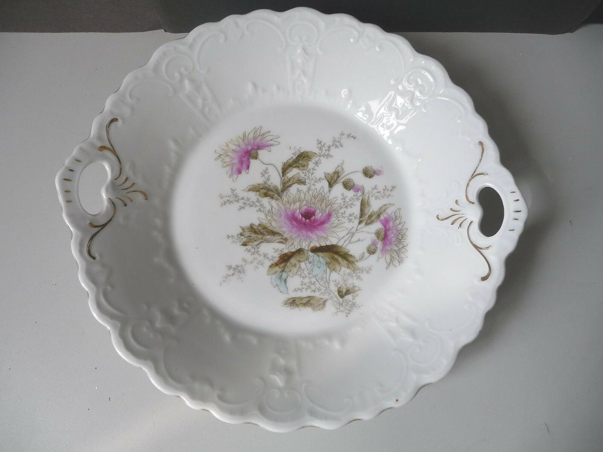 Zierteller mit Blumenmalerei Silberdistel Reliefrand Porzellan 0