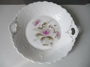 Zierteller mit Blumenmalerei Silberdistel Reliefrand Porzellan