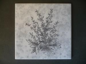 Orig. Fliese Wandfliese Dekorfliese Blumen grau / Meissen DDR