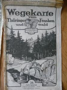 Wanderkarte Wegekarte Landkarte Thüringer Wald Frankenwald ca. 1920