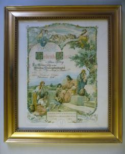 Druck Gedenkblatt Besuch Kindergottesdienst Plauen 1916