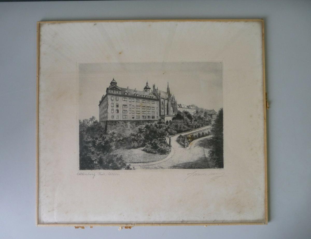 Alte Druckgraphik Radierung? Ansicht Altenburg Thüringen Schloss 0