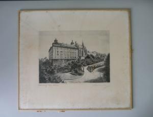 Alte Druckgraphik Radierung? Ansicht Altenburg Thüringen Schloss