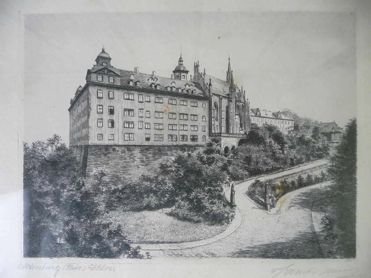 Alte Druckgraphik Radierung? Ansicht Altenburg Thüringen Schloss 1