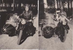 2 x Orig. Foto Motorrad mit Seitenwagen Beiwagen Kinder EMW / BMW??