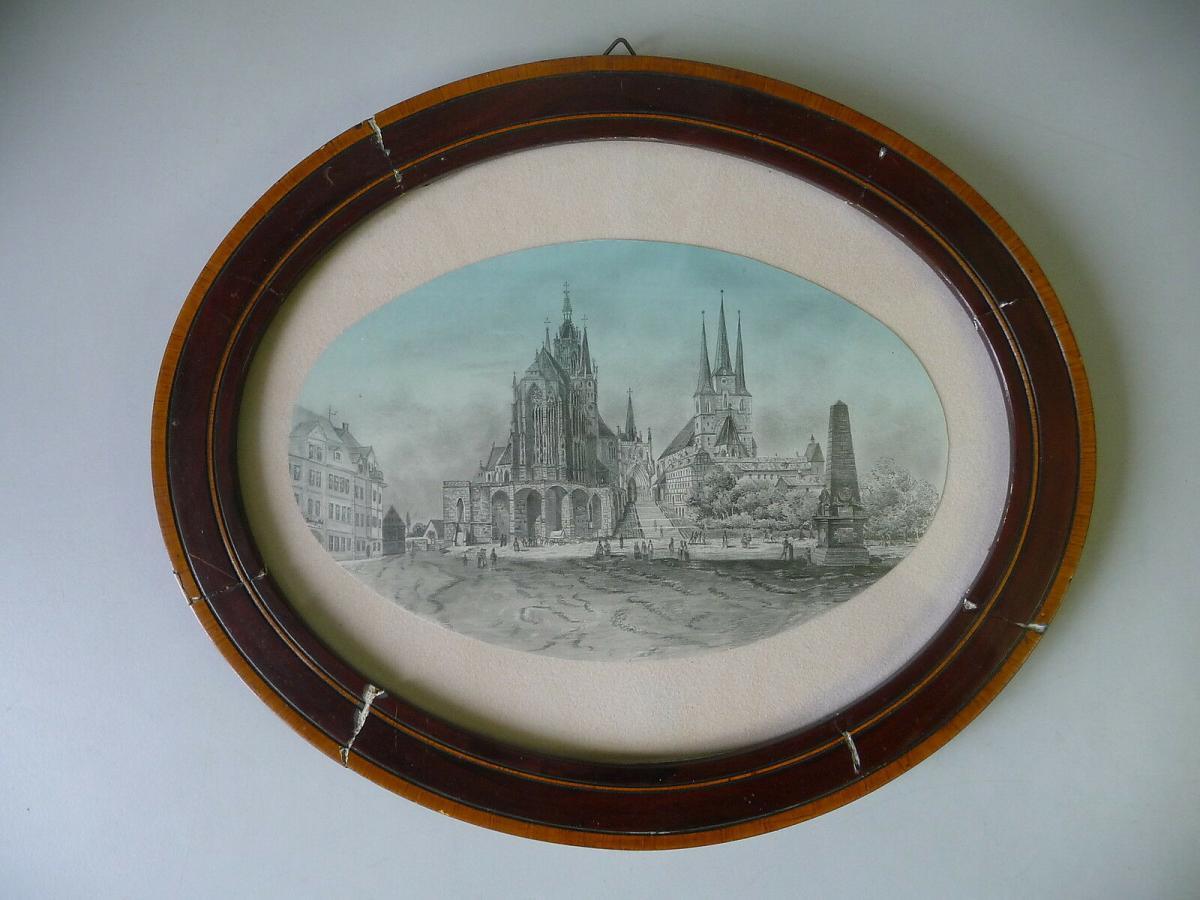 Ansicht Erfurt Dom Severikirche Handzeichnung? gerahmt oval 0
