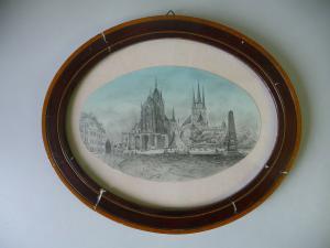 Ansicht Erfurt Dom Severikirche Handzeichnung? gerahmt oval