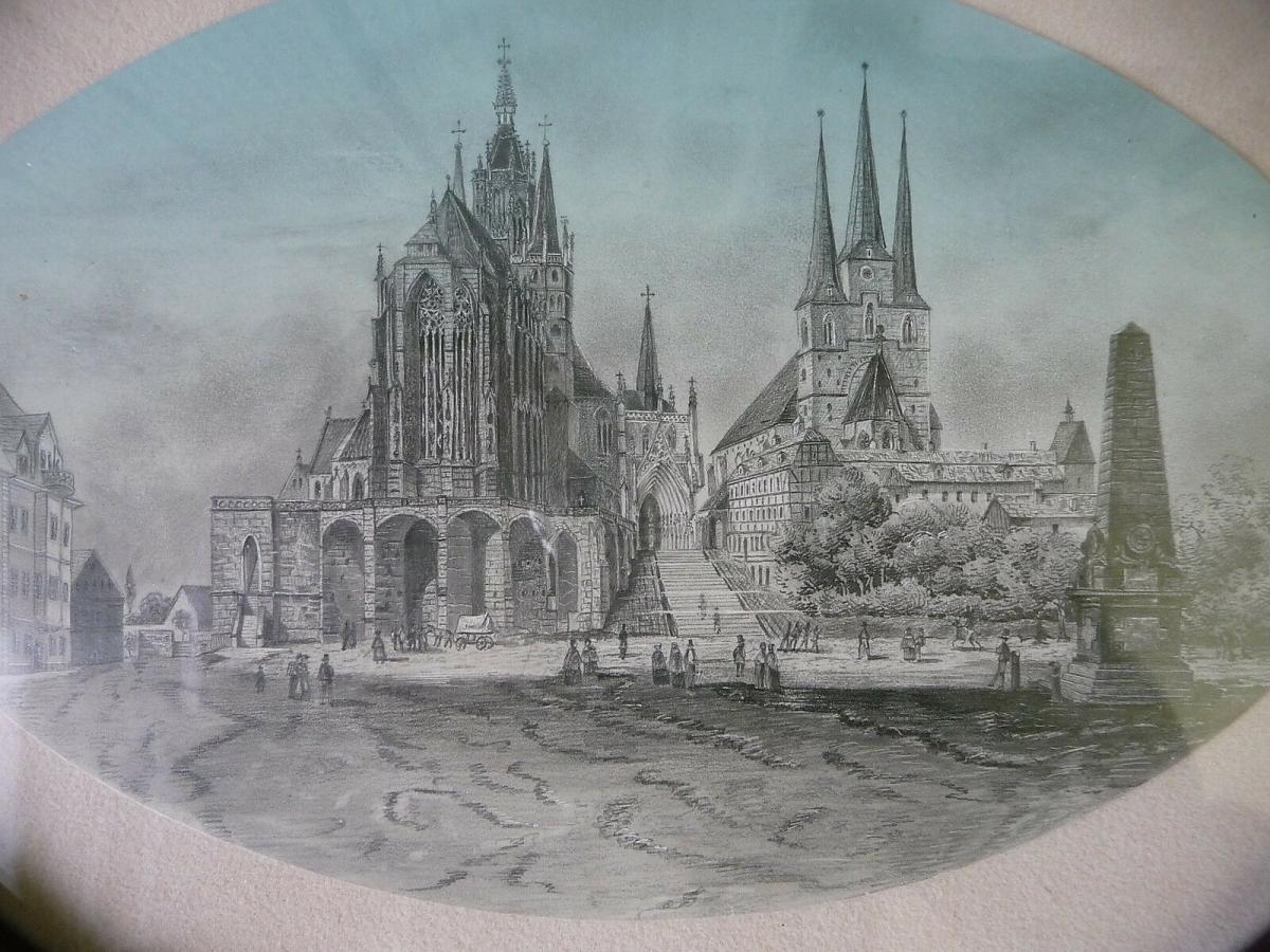 Ansicht Erfurt Dom Severikirche Handzeichnung? gerahmt oval 1