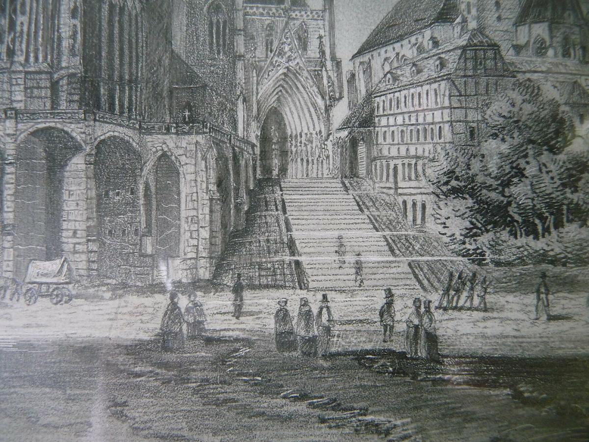 Ansicht Erfurt Dom Severikirche Handzeichnung? gerahmt oval 2