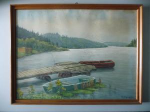 Aquarell Zeichnung Bild Ufer mit Steg Boote Vogtland Pöhl ? / W. Pasch 1977