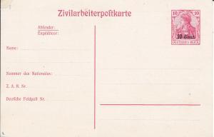 Zivilarbeiterpostkarte Deutsches Reich 10 Cent Erster Weltkrieg