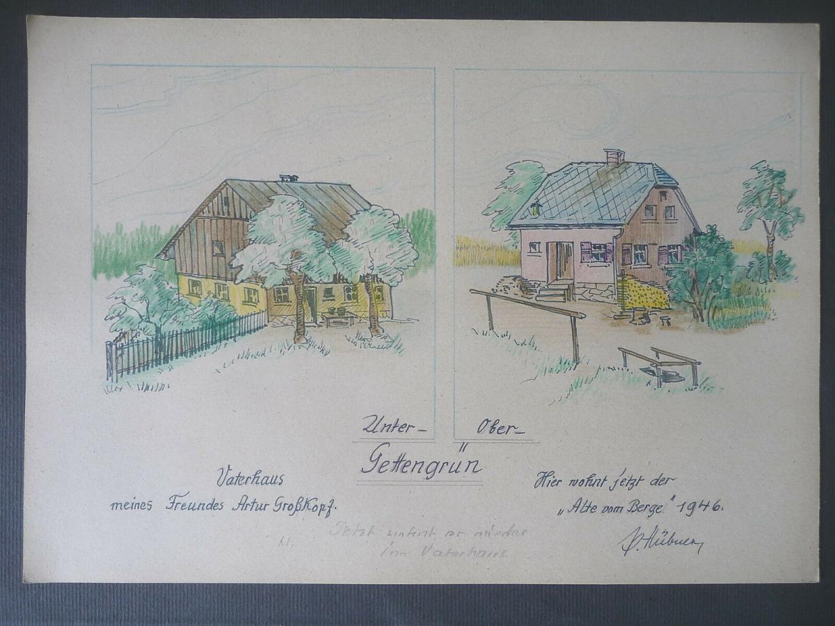 Orig. Zeichnung Untergettengrün Vogtland  Häuser / Paul Hübner 1946 0