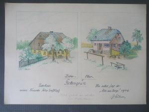 Orig. Zeichnung Untergettengrün Vogtland  Häuser / Paul Hübner 1946
