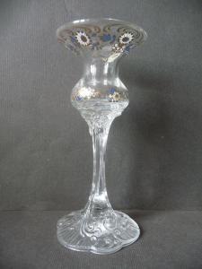 Kleine Stielvase Blumenvase mit Blumendekor Reliefglas