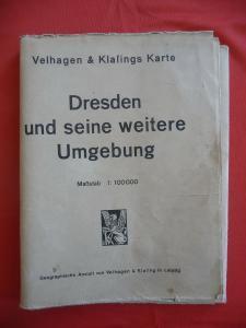 Landkarte Dresden und Umgebung / Velhagen & Klasing ca. 1950