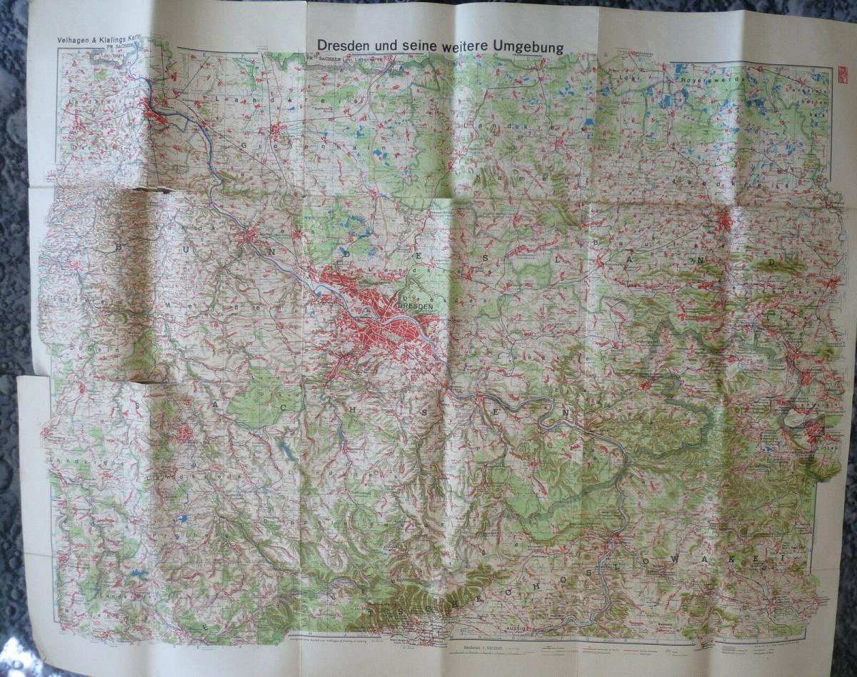 Landkarte Dresden und Umgebung / Velhagen & Klasing ca. 1950 1