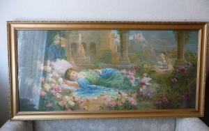 Schlafzimmerbild Wandbild Kunstdruck Dornröschen Schlafende Schöne Hans Zatzka