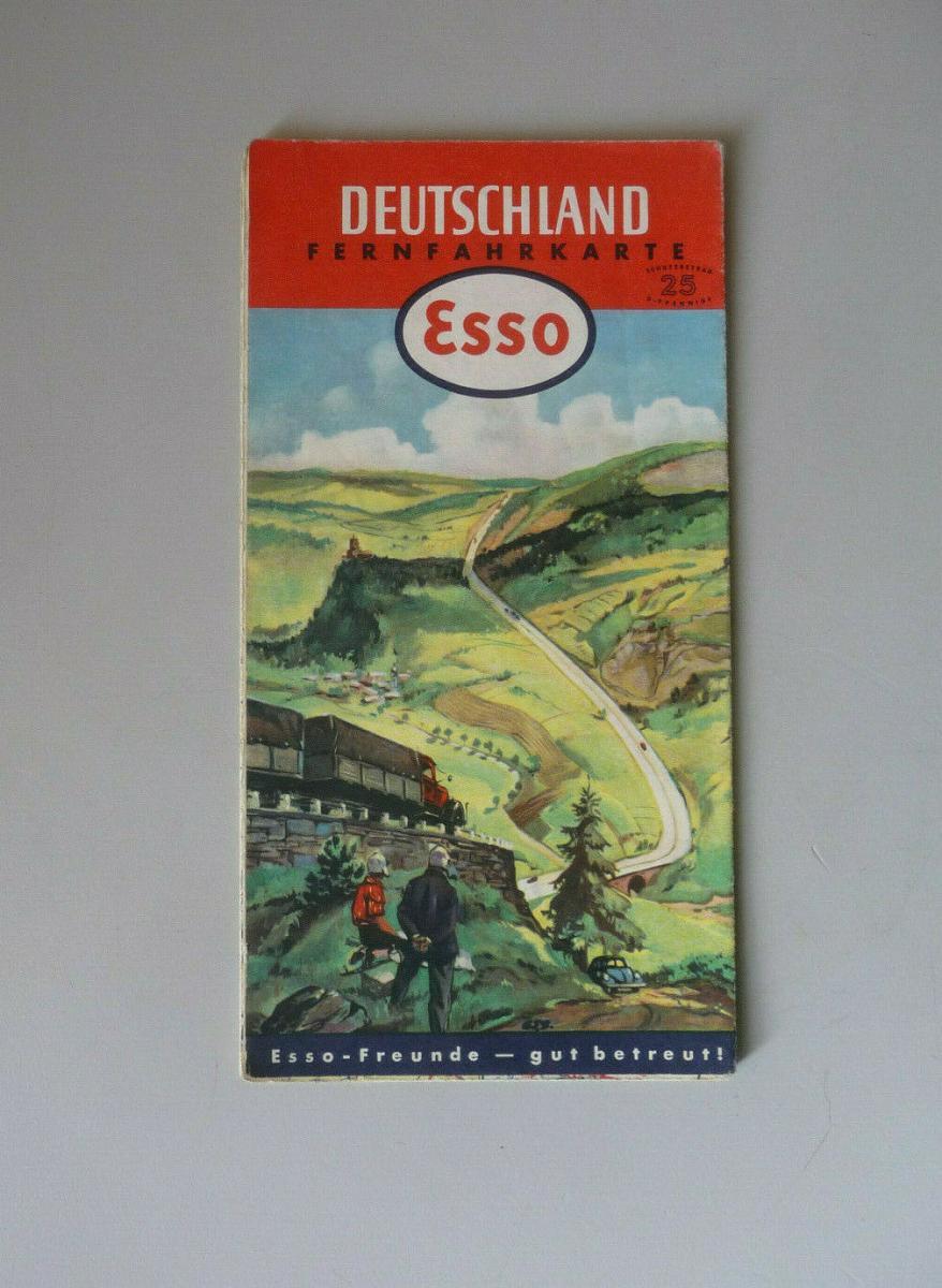 Esso Fernfahrkarte Straßenkarte Deutschland 1952 0