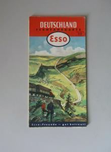 Esso Fernfahrkarte Straßenkarte Deutschland 1952
