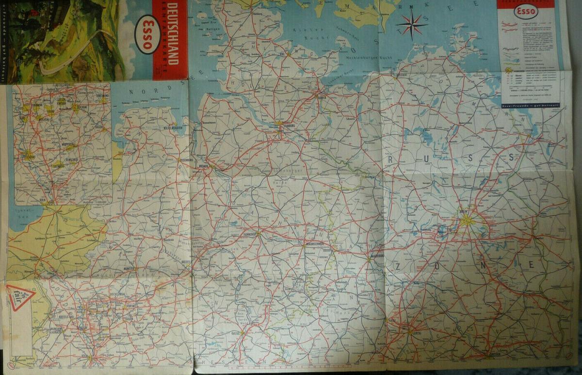 Esso Fernfahrkarte Straßenkarte Deutschland 1952 1