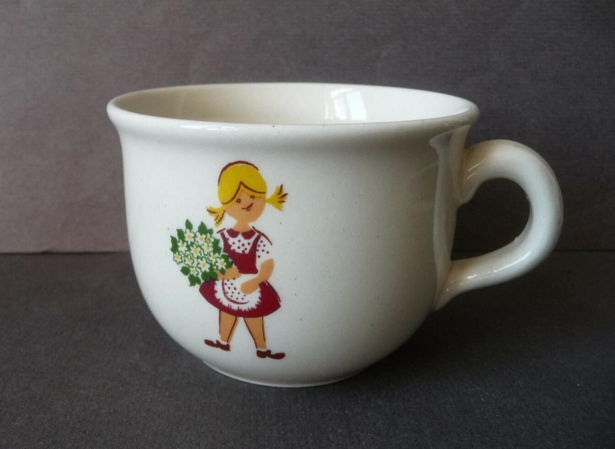 Kindertasse Motiv Gärtner Blumenmädel / Keramik DDR 0